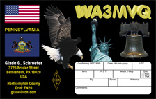 QSL Card Style QSL42, PA Patriotic State Flag QSL Card
