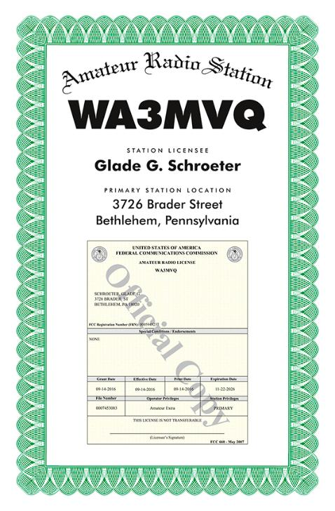 Amateur Radio License Certificate - 11
